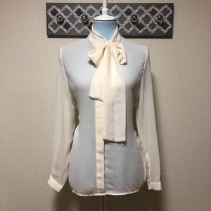 Ivory Sheer Blouse Tie Neck Button Down, Size L